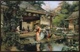 The Japanese Tea House Framed Canvas Print by Harry Humphrey Moore