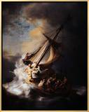 Storm on the Sea of Galilee Framed Canvas Print by  Rembrandt van Rijn