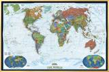 World Political Map, Decorator Style Framed Canvas Print