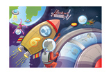 Life in Space - Jack & Jill Giclee Print by Merril Rainey