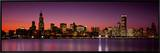 Dusk, Skyline, Chicago, Illinois, USA Framed Canvas Print by  Panoramic Images