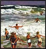 """Surf Swimming,"" August 14, 1948 Framed Canvas Print by John Falter"