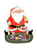Santa with Train - Jack & Jill Giclee Print by Jack Weaver