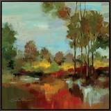 Hidden Pond Hues II Framed Canvas Print by Silvia Vassileva