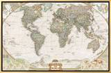 World Political Map, Executive Style Framed Canvas Print