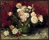 Van Gogh: Roses, 1886 Framed Canvas Print by Vincent van Gogh