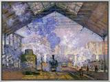 The Gare St. Lazare, 1877 Framed Canvas Print by Claude Monet
