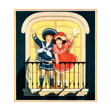 Waving at the Parade - Child Life Giclee Print by Hazel Frazee