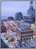 Quincy Market, Faneuil Hall, Boston, MA Framed Canvas Print by James Lemass
