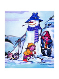 Snowman and Snow Dog - Jack & Jill Giclee Print by Fred Womack