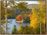 Summer Home Surrounded by Fall Colors, Wyman Lake, Maine, USA Framed Canvas Print by Steve Terrill