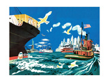 Tugboat and Seagulls - Jack & Jill Giclee Print by Joe Krush