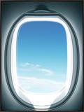 Close-up of airplane window Framed Canvas Print by Sung-Il Kim