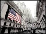 The facade of the New York Stock Exchange draped in the American Flag Framed Canvas Print