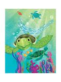 A Sea Turtle Rescue - Jack & Jill Giclee Print by Elisa Chavarri