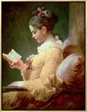 Young Girl Reading Framed Canvas Print by Jean-Honoré Fragonard