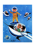 A Day in Outerspace - Jack & Jill Giclee Print by Lou Segal