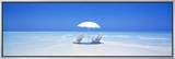 Beach, Ocean, Water, Parasol and Chairs, Maldives Framed Canvas Print by  Panoramic Images