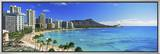 Palm Trees on the Beach, Diamond Head, Waikiki Beach, Oahu, Honolulu, Hawaii, USA Framed Canvas Print by  Panoramic Images