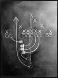 Football Play on Chalkboard Framed Canvas Print by Howard Sokol