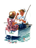 Teaching How to Fish - Child Life Giclee Print by Keith Ward
