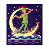Singing on the Moon - Child Life Giclee Print by Lawson Fenerty