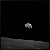 Earthrise and Lunar Horizon from Apollo 8 Framed Canvas Print