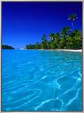 Tropical Lagoon Waters, Aitutaki, Southern Group, Cook Islands Framed Canvas Print by Peter Hendrie