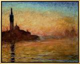 View of San Giorgio Maggiore, Venice by Twilight, 1908 Framed Canvas Print by Claude Monet