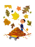 Falling Leaves - Jack & Jill Giclee Print by Roland Shutts