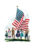 Young Patriots - Child Life Giclee Print by Keith Ward