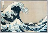 A Grande Onda de Kanagawa, da série 36 vistas do Monte Fuji, Fugaku Sanjuokkei Impressão em tela emoldurada por Katsushika Hokusai