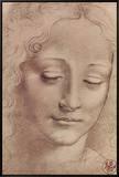 Testa di Giovinetta Framed Canvas Print by  Leonardo da Vinci