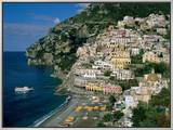 Amalfi Coast, Coastal View and Village, Positano, Campania, Italy Framed Canvas Print by Steve Vidler