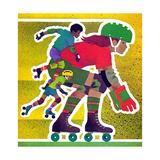 Roller Skate Race - Jack & Jill Giclee Print by Allan Eitzen