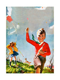 Flying Kites - Child Life Giclee Print by Robert O. Skemp