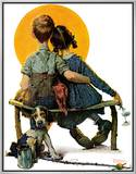 """Little Spooners"" or ""Sunset"", April 24,1926 Framed Canvas Print by Norman Rockwell"