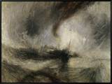 Snow Storm: Steam-Boat Off a Harbour's Mouth Framed Canvas Print by J. M. W. Turner