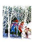 Cross-Country Skiing - Jack & Jill Giclee Print by Beth and Joe Krush