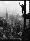 Man Waving from Empire State Building Construction Site Framed Canvas Print