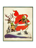 Harnessing the Reindeer - Child Life Giclee Print by Keith Ward
