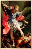 The Archangel Michael Defeating Satan Framed Canvas Print by Guido Reni