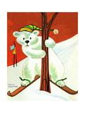 Polar Bear Skis - Jack & Jill Giclee Print by Becky Krehbiel