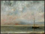 Clouds over Lake Geneva Framed Canvas Print by Gustave Courbet