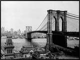 Brooklyn Bridge Over East River and Surrounding Area Framed Canvas Print