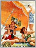 """Card Game at the Beach,"" August 28, 1943 Framed Canvas Print by Alex Ross"