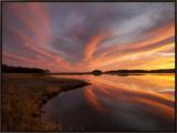 Sunset over a Chesapeake Bay Shoreline Framed Canvas Print by Skip Brown