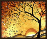 Dreaming in Gold Framed Canvas Print by Megan Aroon Duncanson