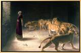 Daniel in the Lions Den, Mezzotint by J. B. Pratt, with Hand Colouring Framed Canvas Print by Briton Rivière