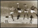 Manchester United vs. Arsenal, Football Match at Old Trafford, October 1967 Framed Canvas Print